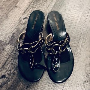 Arturo Chang Black Gold Paten Leather Sandals 7.5